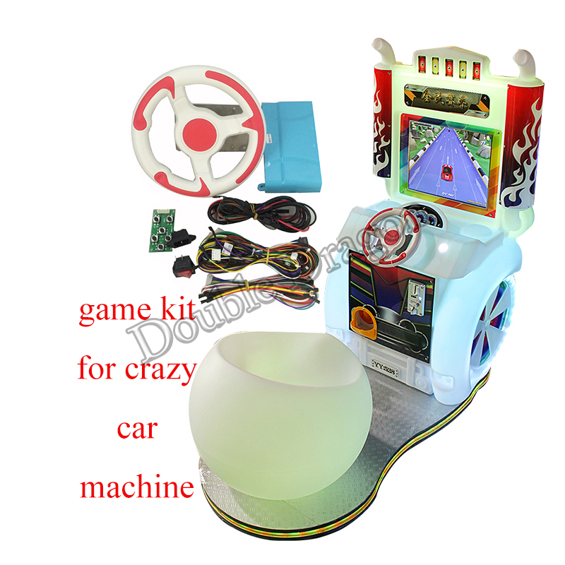 crazy car arcade video game simulator kit kids play racing game kit pcb board cables steering wheel switch coin operated diy image