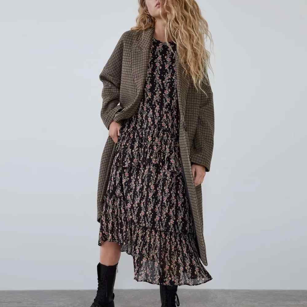Papan Musim Gugur Musim Dingin Wol Wol Mantel Wanita Panjang Gaya Vintage Kotak-kotak Wanita Kasual Jaket Pakaian Luar Wol Trench Jaket Wanita