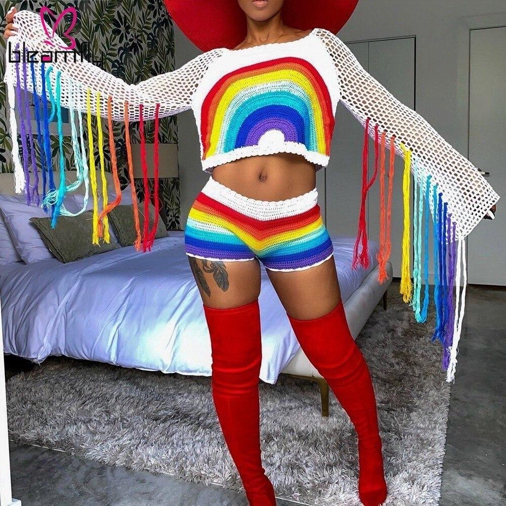 Rainbow Crochet Tassel Women Two Piece Set Beach Long Sleeve Crop Top Shorts Matching Sets Bikini Cover Up Knitted Sheer Suits