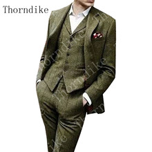 Men's Suit Checked Pants Tuxedo Vest Blazer Slim-Fit Lapel Herringbone-Pattern Thorndike