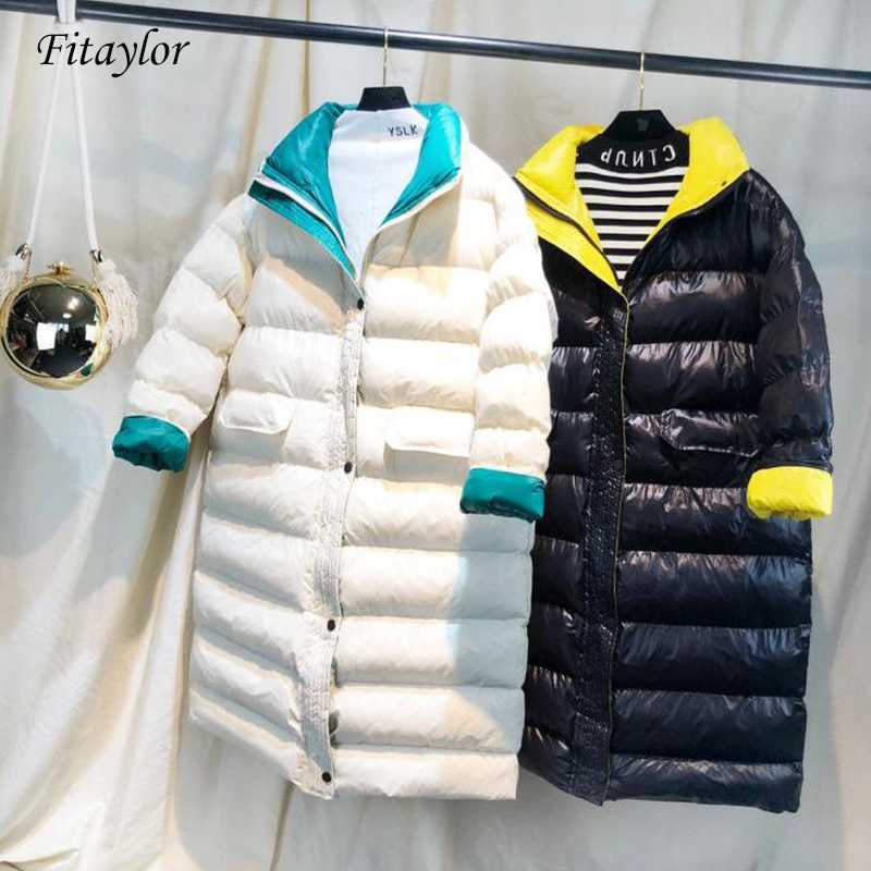 Fitaylor Women Winter Long Coat New Ultra Light White Duck Down Jacket Female Slim Puffer Jacket Windproof Down Coat