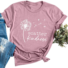 Dandelion Scatter Kindness Printed T-shirts Women Summer 2020 Vogue T Shirt Women Cotton Graphic Tee Loose O Neck Harajuku Top