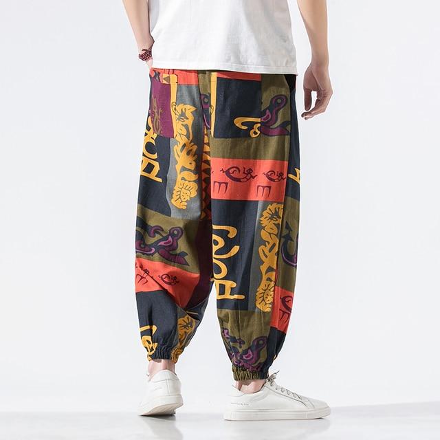 Calças masculinas harem calças joggers estampado com cordão solto-virilha calças masculinas 2020 solto coreano streetwear algodão casual calças masculinas 3