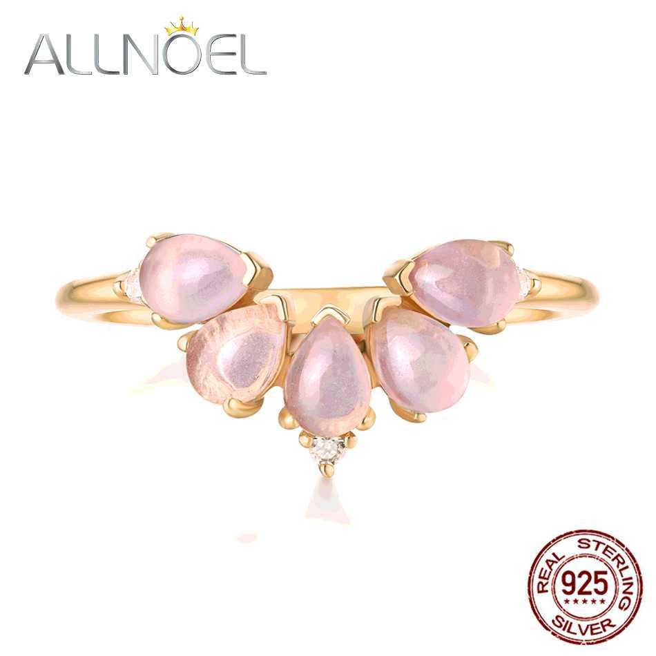 ALLNOEL 2019 Настоящее 925 пробы Серебряное кольцо для женщин 100% натуральный розовый кварц голубой топаз Лабрадорит драгоценный камень ювелирные изделия