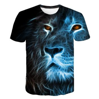 new children s t shirt popular lion king print children s shirt for boys short sleeved t shirt summer t shirt Summer men's T-shirt O-neck short-sleeved clothing Animal Lion 3D printing T-shirt Casual men's T-shirt