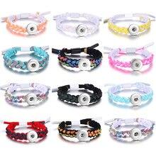 Gran oferta de cuero trenzado de botón de presión para las mujeres, las mujeres Cierre de ajuste DIY joyería 18mm botones brazaletes intercambiables