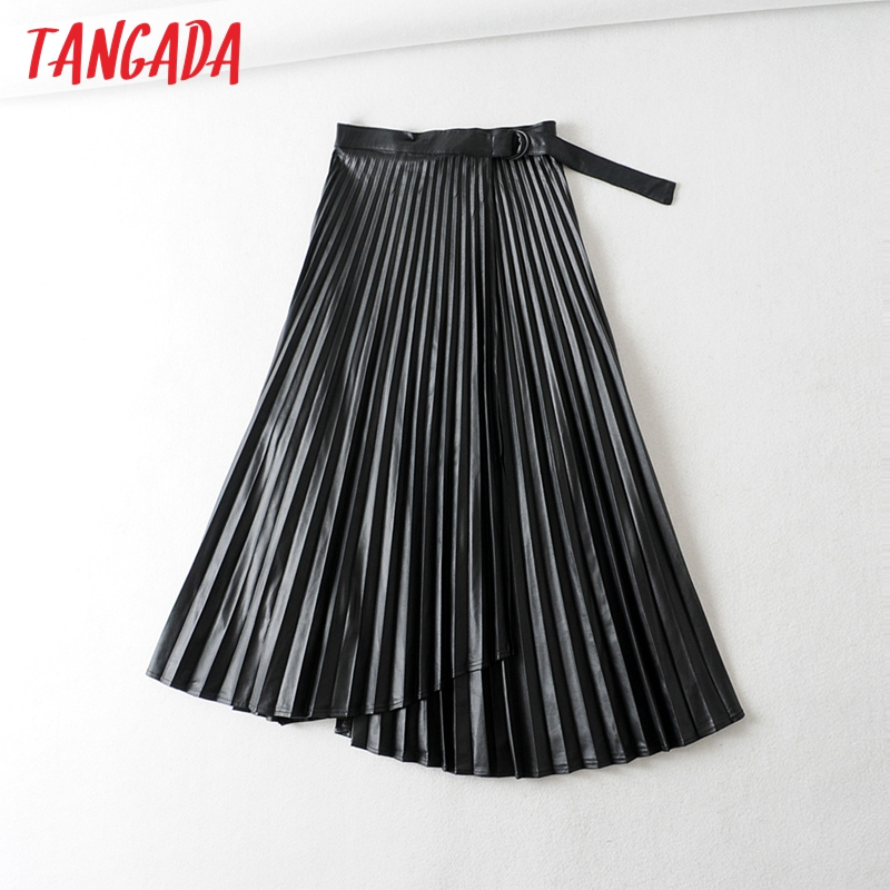 Tangada Women Pleated PU Leather Skirts With Slash Ladies 2019 New Arrival Retro Asymmetrical Black Knee Length Skirts 6A318