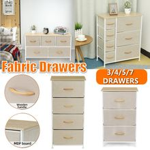 Chest of Dresser 3-7 Drawers Fabric Storage Breathable Tower MDF Board Wooden Top & Easy