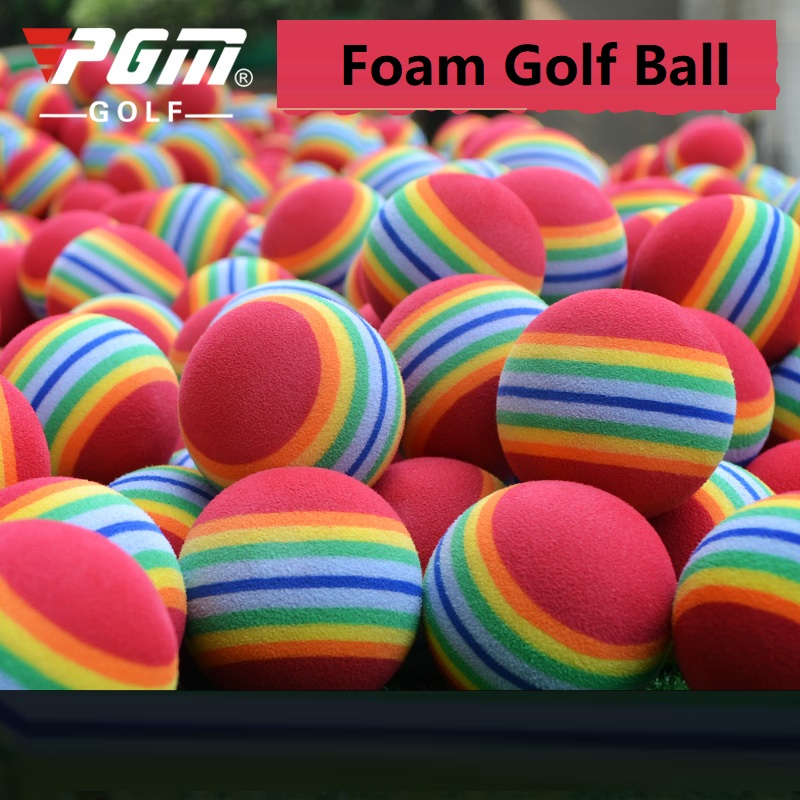 3PCS Rainbow Stripe Foam Sponge Golf Balls Elastic Foam Golf Sponge Rubber Balls Practice Training Aids Color Shipping Randomly