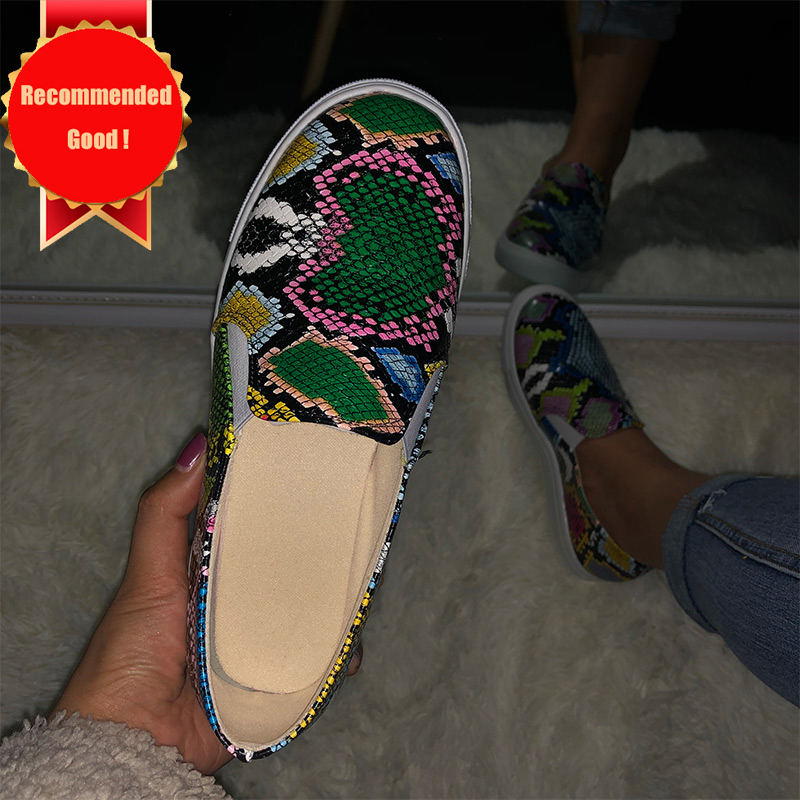 Women's Pu Snake Print Leather Sneakers Woman Shoes Mix Color Slip On Flat Shoes Female Plus Size 2020 Platform Casual Walking