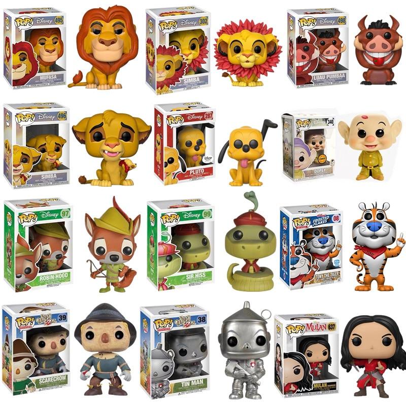 The Lion King Simba Tony The Tiger Robin Hood Wizard Of Oz Snow White Dwarf Vinyl Doll Action Figure PVC Model Gift Toys