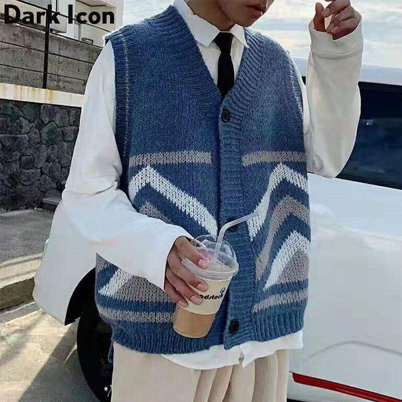 Dark Icon Sleeveless Cardigan Sweater Men 2019 New Fashion Mens Vest Loose Tank Tops Streetwear Clothing