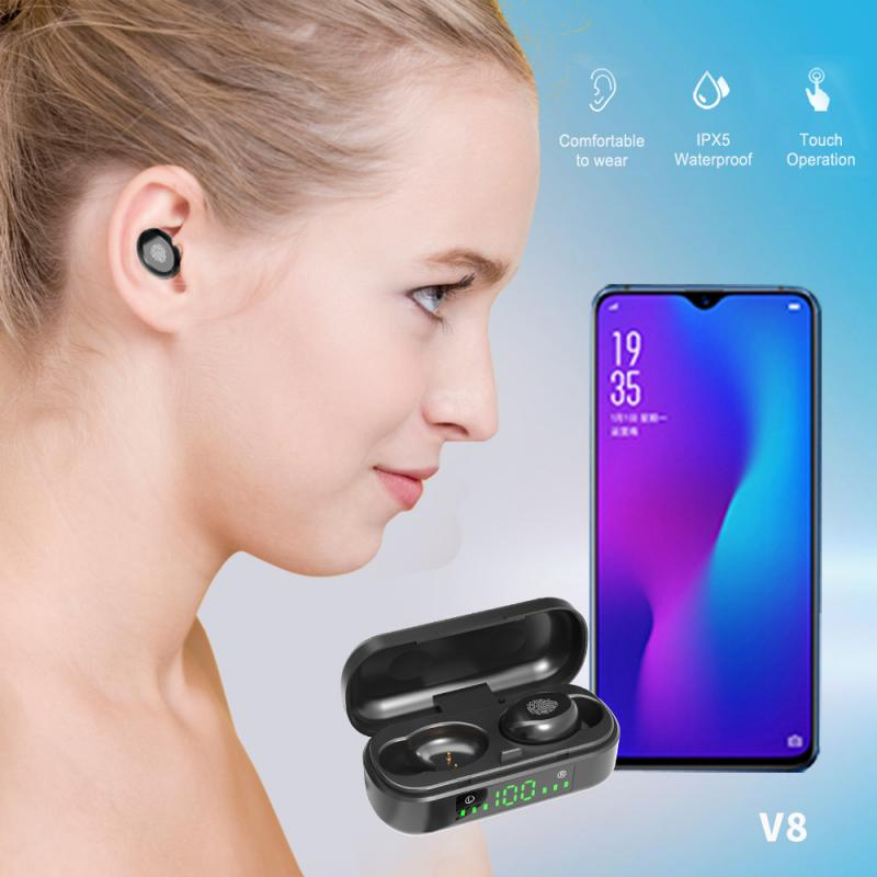 V8 TWS Touch Control LED Bluetooth 5.0 Wireless Earphone Earbuds HIFI Sport Headset Noise Cancel Earphone Free  Drop shipping