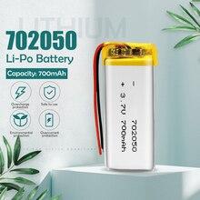 3.7V 700mAh 702050 li-po akumulator do GPS MP3 MP4 słuchawki z Bluetooth głośnik mobilny zegarek inteligentny powerbank do telefonu