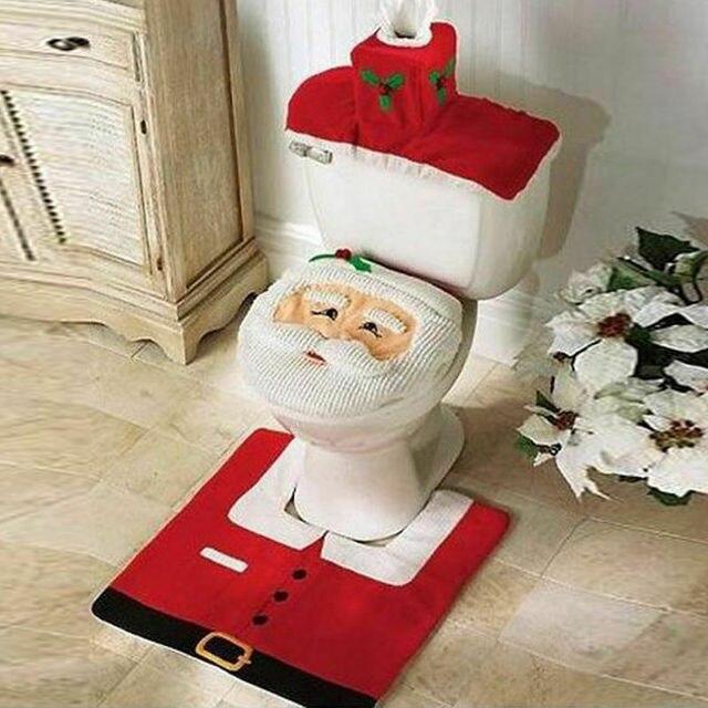 3Pcs/set Bathroom Mat Set Anti-Slip Kitchen Bath Mat Carpet Bathroom Toilet Rug Washable Christmas Santa Toilet Seat Cover
