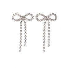 Bow Earrings Fashion Man-made Elegant Fashion And Personality Exaggeration Long Tassel Earring Ear Stud Women's812(China)