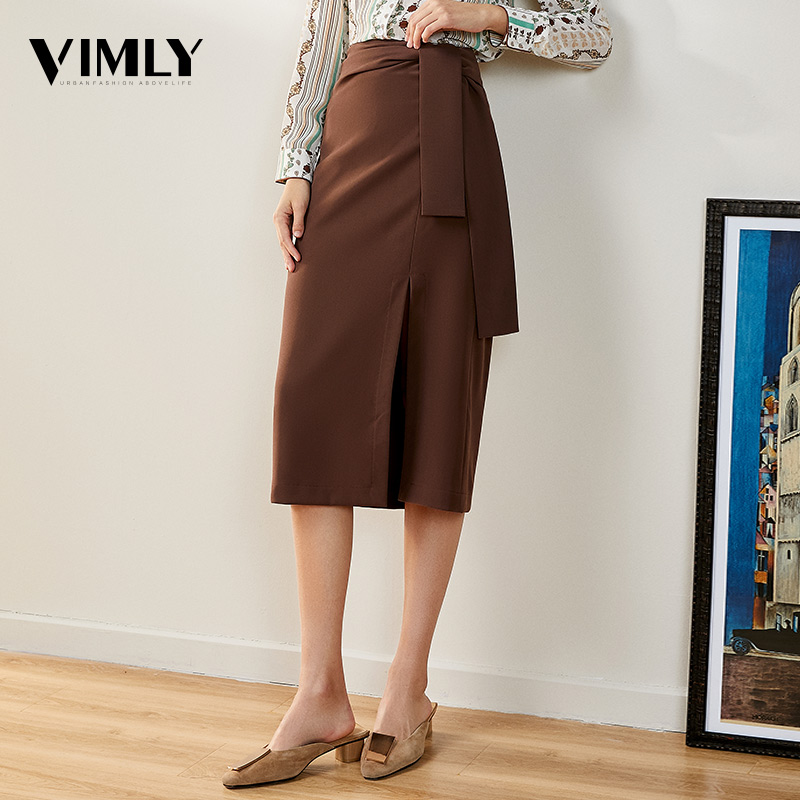 Vimly High Waist Split Midi Skirts For Women Elegant Ladies Chic Skirt Sexy High Street Fashion Wear