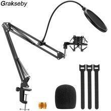Microphone Stand For Blue Yeti With Pop Filter And Spider Shock Mount Adjustable Suspension Boom Scissor Mic Bracket Arm Holder