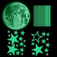 435 Pcs Fluorescent Wall Stickers Luminous Stars/Moon/Stars/Dots for Kid's Room