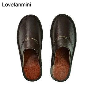 Image 1 - Тапочки из натуральной коровьей кожи для мужчин и женщин, Нескользящие домашние модные повседневные однотонные туфли, мягкая подошва из ПВХ, весна лето 518