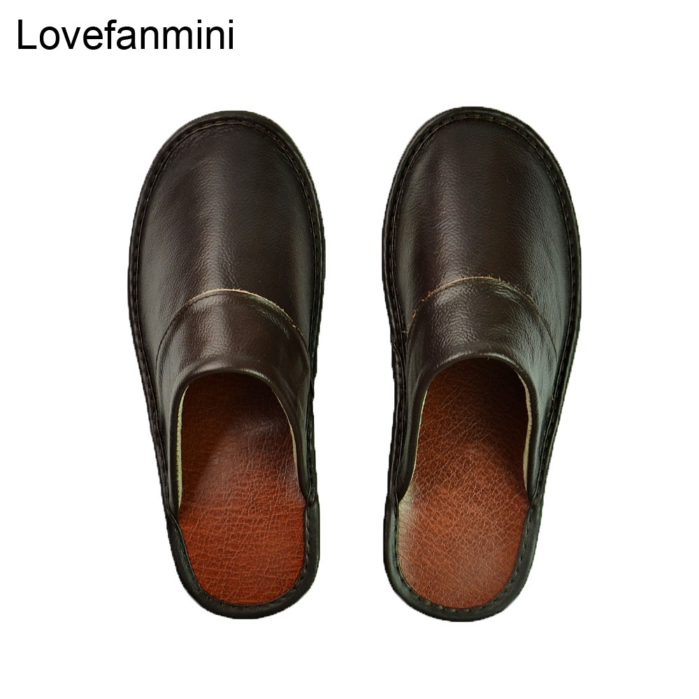 Genuine Cow Leather Slippers Couple Indoor Non-slip Men Women Home Fashion Casual Single Shoes PVC Soft Soles Spring Summer 518