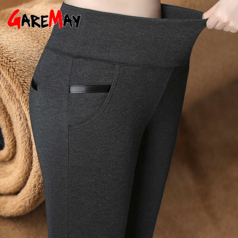GareMay Women Winter Warm pants Velvet Thick Trousers High Waist Elastic Middle aged Mother Stretch Straight Pants Plus Size 5XL
