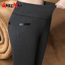 GareMay Women Winter Warm pants Velvet Thick Trousers High Waist Elastic Middle aged Mother Stretch Straight Pants Plus Size 5XL cheap COTTON Full Length A-P810 Solid Casual skinny Patchwork Broadcloth Elastic Waist Goods in stock All-in-one pants underpants underpants for pregnant women