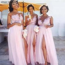 Light Pink Chiffon Slit Bridesmaid Dresses Wedding Guest