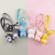 Cute Anime Dumbo Elephant Keychain Cartoon Epoxy Animal Pendant Elephants Key Ring Fans Gift  Woman Keyring