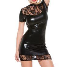 Vetement Femme Sexy Kostuums Latex Jurk Zwart Kant Catsuit Night Club Wear Langerie Porno Pole Dance Jurken Faux Leather