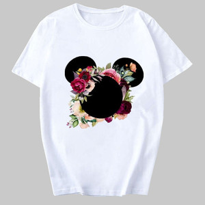 Womens T-Shirt Fashion Female Tee Flower Mouse Top Graphic Casual T Shirt Woman Kawaii Harajuku T-shirts Camisas Mujer Clothing(China)