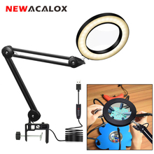NEWACALOX USB 5X Folding Magnifying Glass LED Lighting Table Lamp Jewelry Magnifier Soldering Third Hand Illuminated Glass Loup