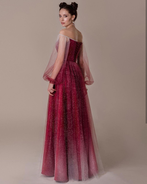 Elegant Prom Dress 2021 Luxury Long Sleeve Puff A-Line Off Shoulder Gorgeous Women Formal Evening Dress Special Floor Length