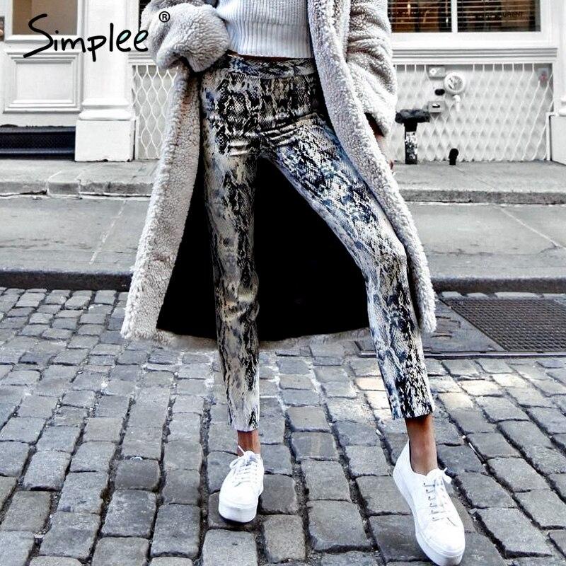 Simplee Snake Print Denim Skinny Jeans Women Streetwear High Waist Elastic Female Pants Korean Punk Pencil Winter Trousers 2018