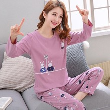 Woman Homewear Clothes Autumn Sleepwear Long Sleeve Kawaii Sleepwear Pajamas