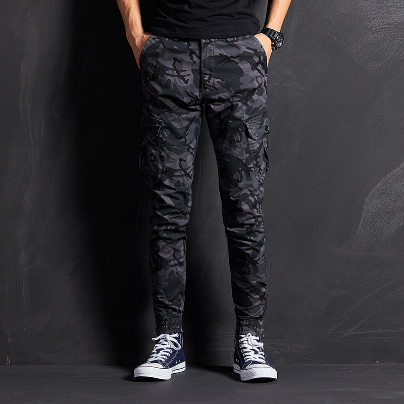 Autumn New Products Military Camouflage Pants MEN'S Trousers Black And White With Pattern Camouflage Pants Feet Zipper Skinny Pa