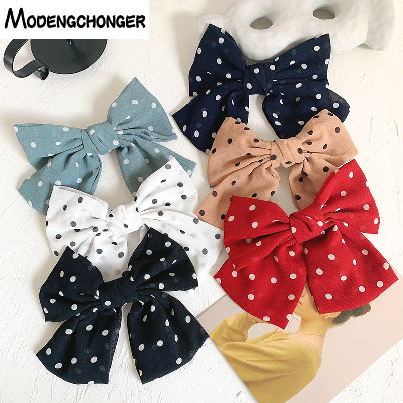 2020Lolita Chiffon Large Bow Barrettes For Women Hairpin Satin Trendy Point Ponytail Clip Lady Hairgrip Fashion Hair Accessories