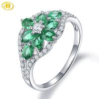 Hutang Precious Emerald Women's Ring 925 Sterling Silver Natural Green Gemstone Rings Fine Elegant Jewelry, New Arrival Gift