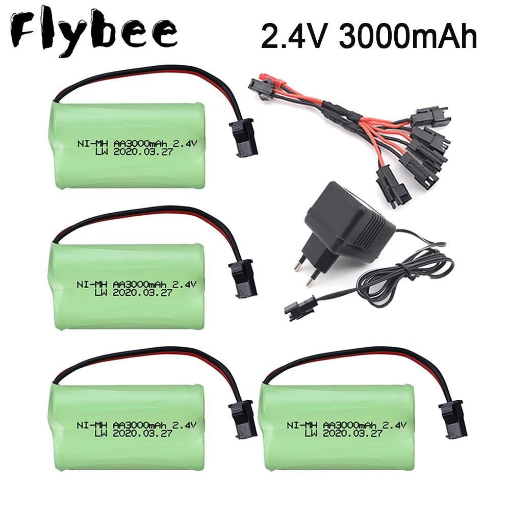 2,4 V 3000 mAh NI-CD pack con cargador de batería recargable AA de 2,4 v de la batería de 3000 mah para juguetes de Control remoto juguetes eléctricos