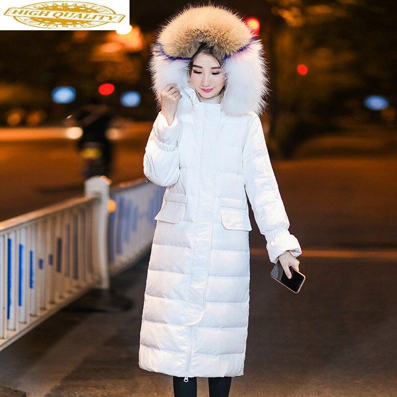Winter Duck Down Jacket Woman Hooded Puffer Long Coat Raccoon Fur Collar Warm Women's Jackets Doudoune Femme Hiver Wt0010 KJ2598