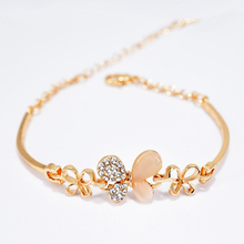 Gold Plated Bangle Women's Bracelets for Women Fashion Jewelry Opal Bracelet Bangle Crystal Rhinestones Bracelet Bowknot stylish rhinestones faux pearls rose gold bracelet for women