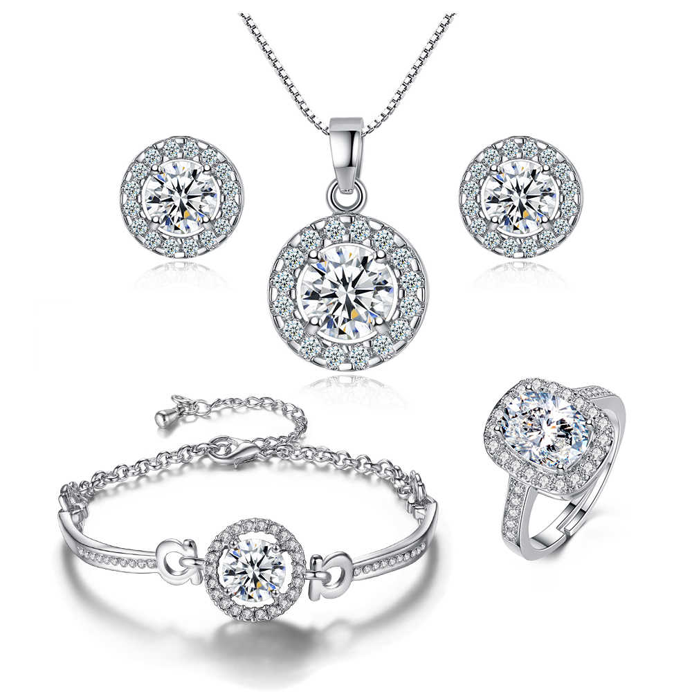 ZHOUYANG Jewelry Sets For Women Wedding Engagement Jewelry Holy Light Combination Silver Color Crystal Zircon Jewellry KAS093