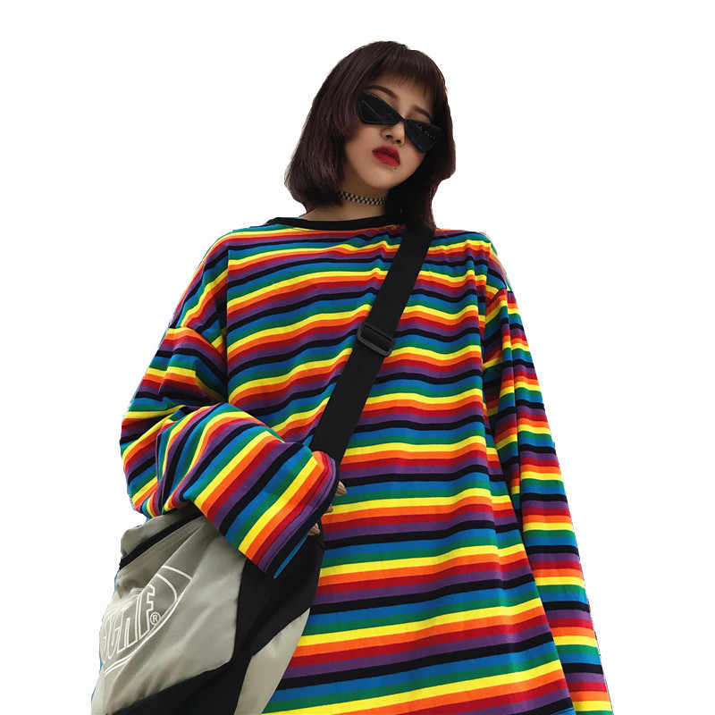 Lychee Streetwear Long Sleeve Summer Women T-Shirt Casual Rainbow Stripe Hit Color Women T-shirts Crew Neck Loose Lady T Shirt