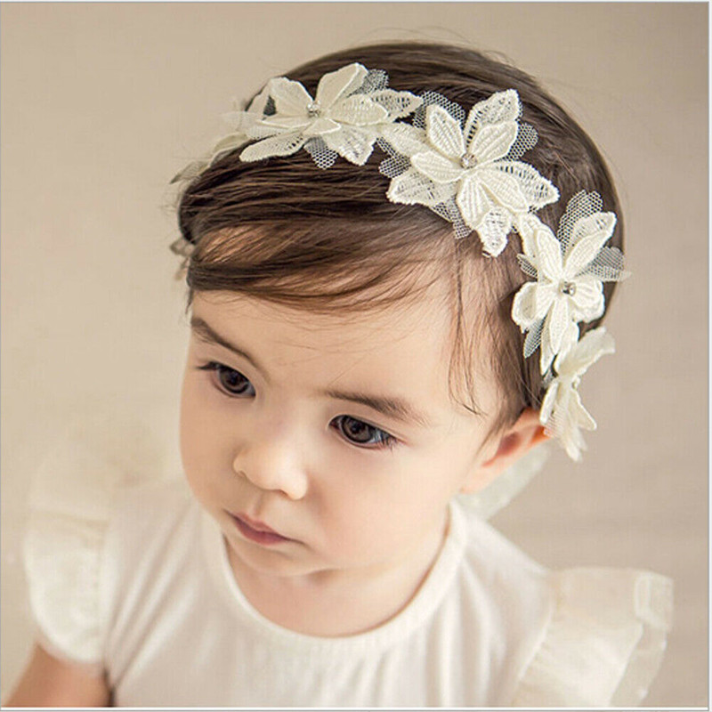 Princess Newborn Infant Baby Girls White Flower Lace Hair Ribbons Headband Floral Wedding Party Headwear