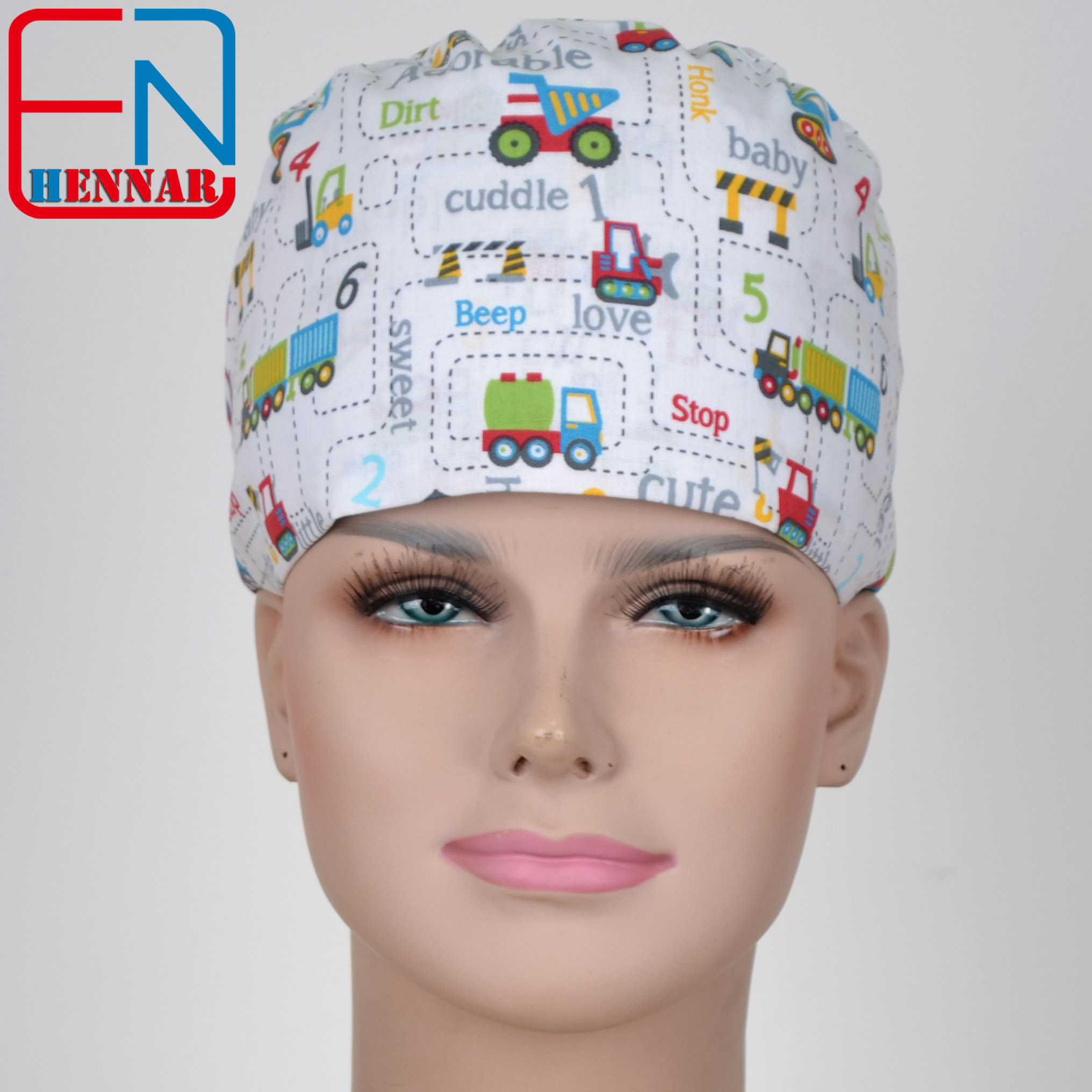 Hennar Scrub Caps Fabric 100% Cotton Doctor Surgical Scrub Cap Adjustable Medical Working Cap For Women Hospital Beauty Pharmacy