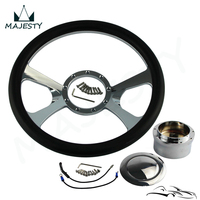 9 Bolt 14 Chrome Billet Steering Wheel W/Horn Button & Adapter For G M Chevy