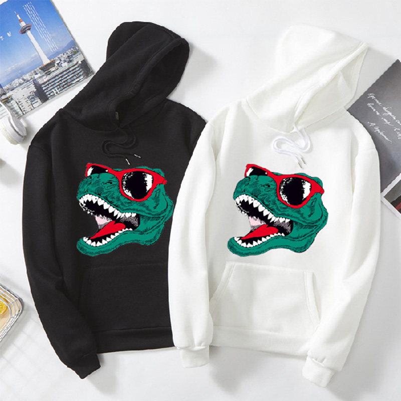Fall Hip Hop Dinosaur Printing Hoodie Men Multicolor Selection Cartoon Fitted Sweatshirts Anime Hoodie All-match Couple Models