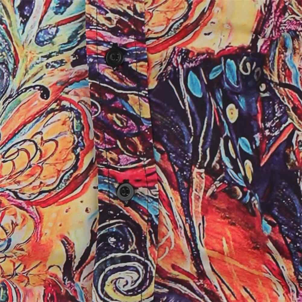 남성 패션 컬러 인쇄 셔츠 탑스 추상 인쇄 단추 긴 소매 망 하와이 셔츠 슬림 피트 플러스 크기 chemise 옴므