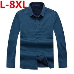 8XL 7XL 6XL Shirt Mannen Winter Kleding Nieuwe Casual Dikke Warme Shirt Mens Kasjmier Lange Mouwen Shirts Eenvoudige Streetwear plus Size