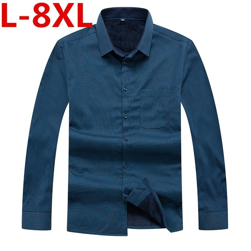 8XL 7XL 6XL Shirt Men Winter Clothes New Casual Thick Warm Shirt Mens Cashmere Long-sleeved Shirts Simple Streetwear Plus Size